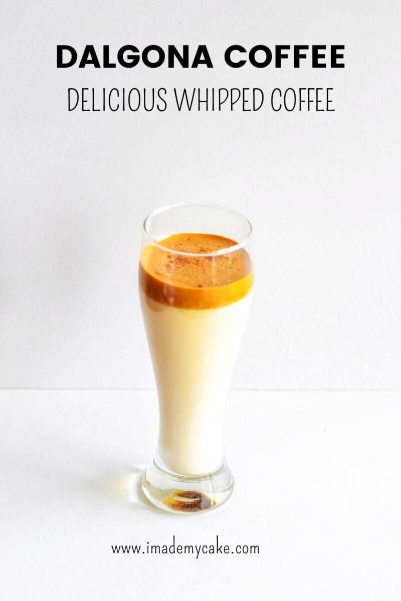 Easy Dalgona Coffee in a transparent glass