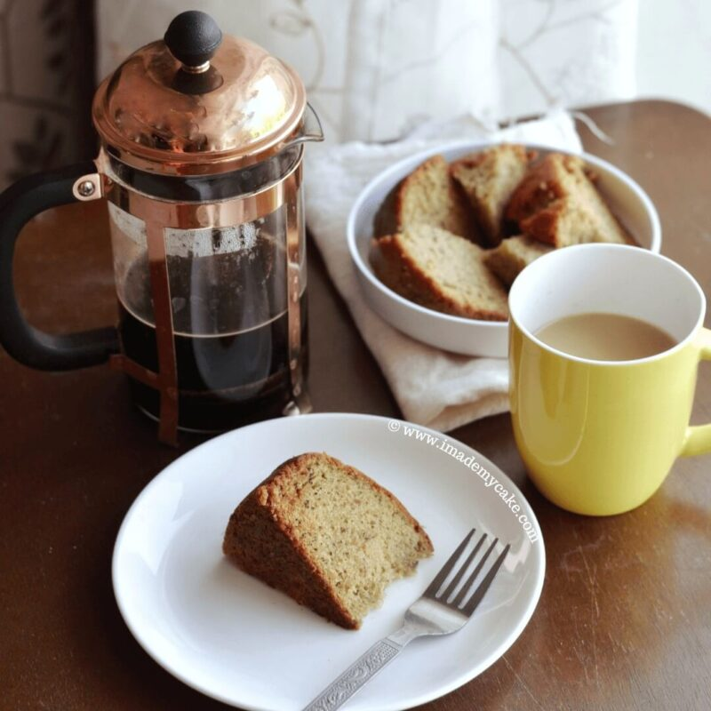 eggless banana cake slices with coffee decoction
