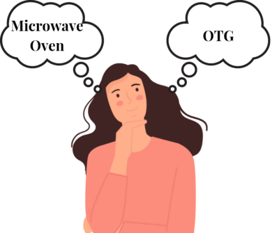 girl confused between microwave oven and otg